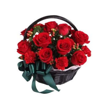 玫瑰康乃馨手提花篮图片
