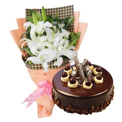 5枝多头白百合+圆形巧克力蛋糕图片