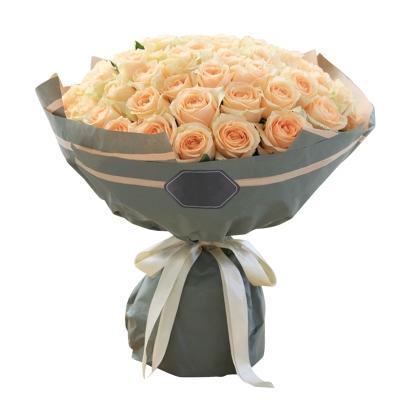 香槟玫瑰66枝图片