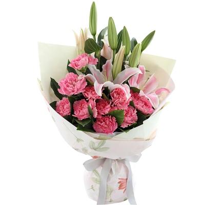 粉色康乃馨11枝,粉色多头香水百合2枝图片