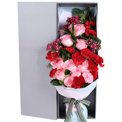戴安娜粉玫瑰11枝,红色康乃馨11支,礼盒款图片
