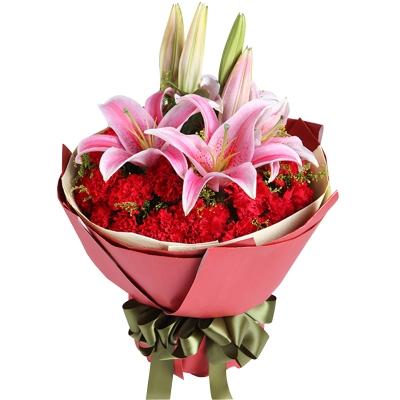 2枝多头粉百合,29枝红康乃馨图片