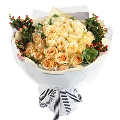 香槟玫瑰33枝图片