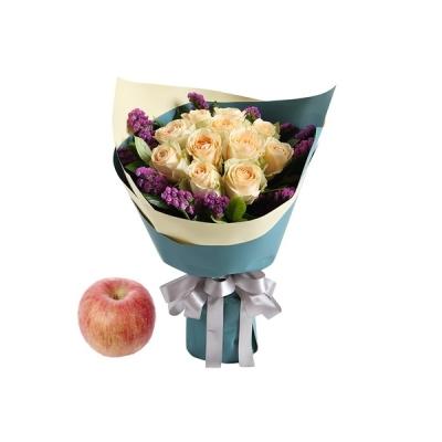苹果+香槟玫瑰11枝图片
