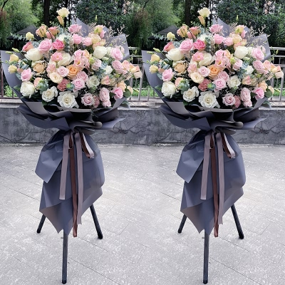 玫瑰桔梗开业花篮1对图片