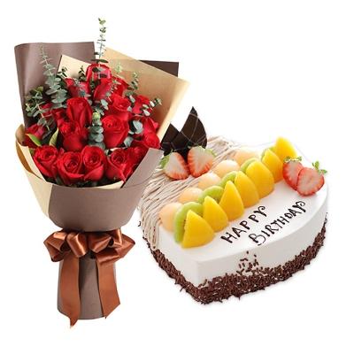 19朵红玫瑰花束+心形水果蛋糕图片