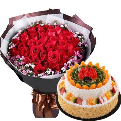 33朵红玫瑰花束+8+12寸双层水果蛋糕图片