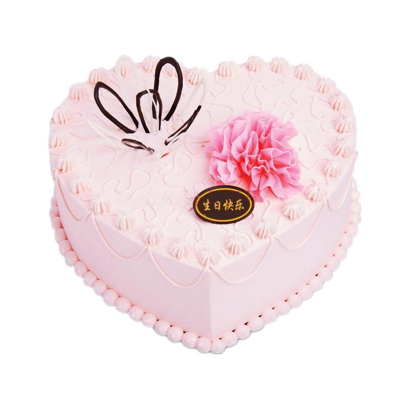 11枝红玫+心形鲜奶蛋糕图片