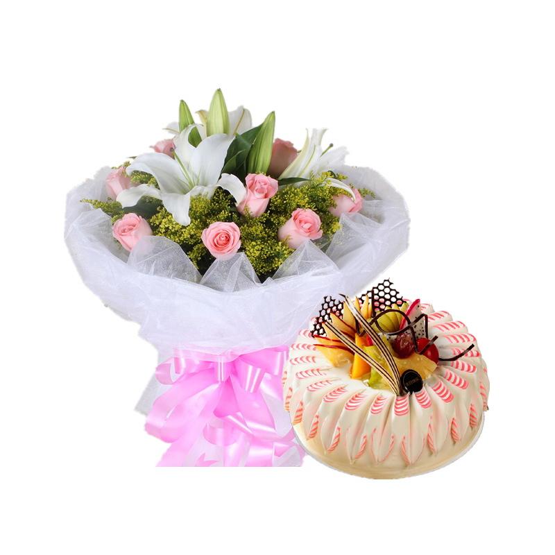 11枝粉玫2枝多头白百合+圆形水果蛋糕图片