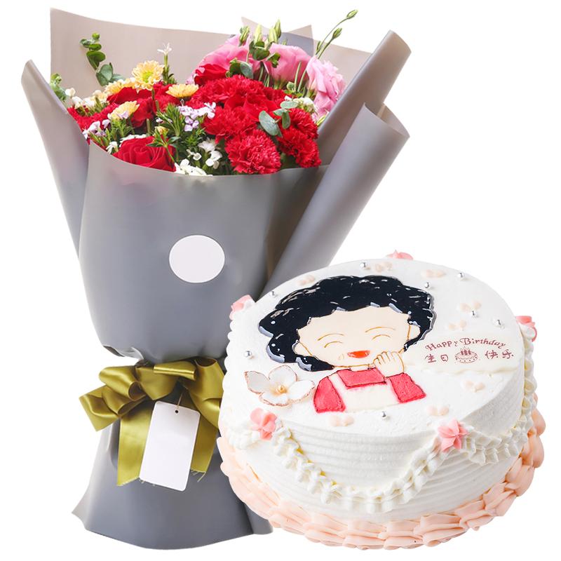 11朵红康,6朵红玫+圆形鲜奶蛋糕图片