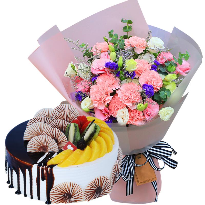 19朵粉色康乃馨+圆形水果蛋糕图片