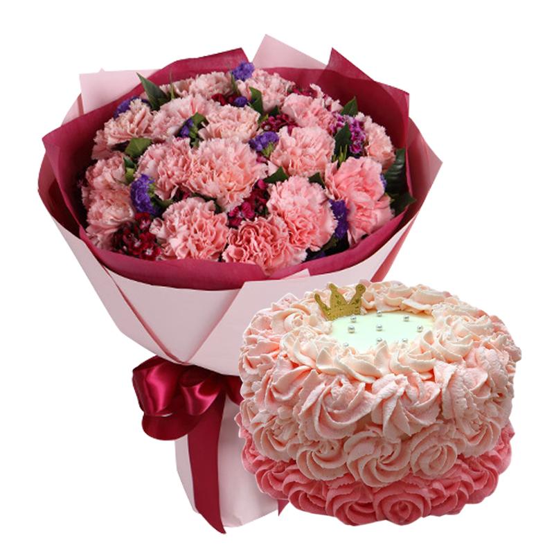 19朵粉康+圆形鲜奶蛋糕图片