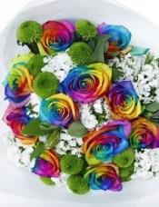 精心挑选11高级彩虹玫瑰(荷兰进口),搭配小皱菊和相思梅。