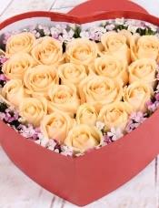 精心挑选19朵昆明香槟玫瑰,石竹梅点缀