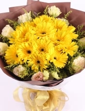精心挑选16朵黄扶郎,搭配黄莺和桔梗,美丽迷人