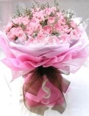 36朵粉色康乃馨,情人草丰满