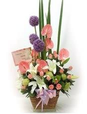 粉玫瑰9枝,香槟玫瑰9枝,多头香水百合1枝、粉色康乃馨,栀子叶适量