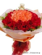 33枝粉玫瑰居中,66枝红玫瑰围绕,外层适量黄莺点缀;5寸小熊一只