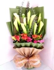 9枝白色马蹄莲,搭配红色或粉色小花,尤加利叶适量