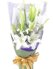 7枝白色马蹄莲,2枝白香水百合,情人草适量搭配