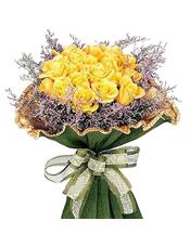 黄玫瑰16枝,情人草外围饱满