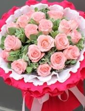 精心挑选19枝黛安娜粉玫瑰,搭配叶上花。