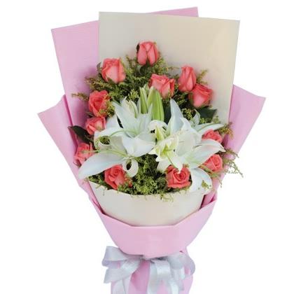 12枝玫瑰花/粉玫瑰