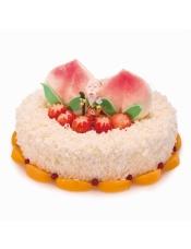 此款蛋糕蟠桃为巧克力制作,体积是传统奶油蟠桃大小的一半!