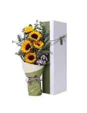 5支精品向日葵,搭配适量尤加利、相思梅