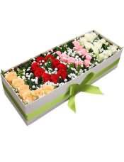 """33支混色玫瑰,""""LOVE""""形状,(香槟玫瑰+红玫瑰+粉玫瑰+白玫瑰)"""
