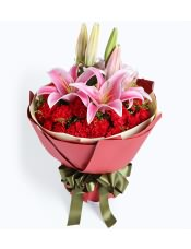 29枝红康乃馨,多头粉百合2枝,黄莺10枝