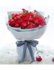 红色康乃馨99枝、多头红色康乃馨1扎、栀子叶2扎