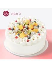 慕斯蛋糕:由水种水果、稀奶油、可可戚风蛋糕、原味戚风蛋糕、芒果慕斯等制作