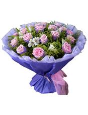 19枝紫玫瑰,黄英,水仙百合,绿叶