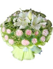 30枝粉色康乃馨,2枝白色百合