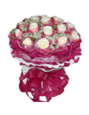 15枝白玫瑰独立包装,蕾丝间插