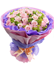 29支戴安娜玫瑰,紫色棉纸独立包装,八卦叶间插