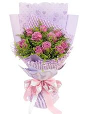 10枝紫玫瑰,黄英丰满