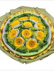 10枝向日葵独立包装,叶上黄金丰满,巴西木叶围边