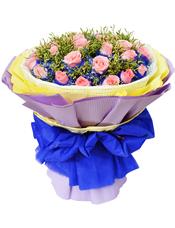 29枝粉玫瑰独立包装,黄英间插丰满。