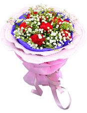 9枝红色康乃馨,满天星、黄英丰满
