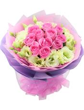 11枝粉玫瑰,桔梗相配