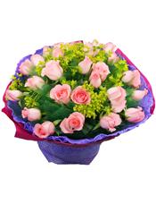 29枝粉玫瑰独立包装,叶上黄金丰满