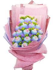 19朵粉玫瑰独立包装,叶上黄金丰满
