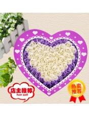 100朵香皂花玫瑰紫色礼盒装