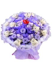 11只韩版钻石泰迪熊+9朵复合玫瑰花朵,站高: 45cm、宽度: 45cm ,4种包装可选