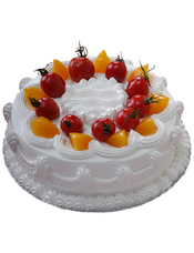 圆形鲜奶蛋糕,黄桃、圣女果、奶油花装饰。