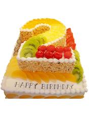 """长方形卡通水果双层蛋糕,上层数字""""2""""形蛋糕,外层撒一圈果仁碎屑,双层蛋糕时令水果铺满,蛋糕底层尺寸60cm*40cm"""
