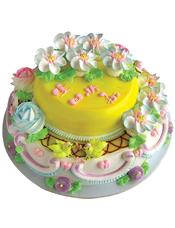 双层圆形鲜奶蛋糕,奶油花装饰,下层一对可爱小鸟装饰。