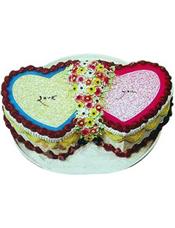 双心鲜奶水果蛋糕,水果,鲜奶,果浆。(注:该产品为艺术蛋糕,如需订购请提前咨询客服人员)